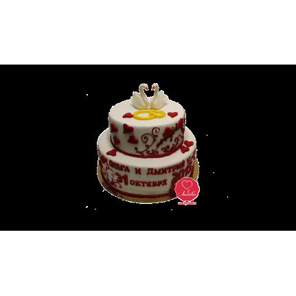 Торт свадебный с лебедями и сердцами №932