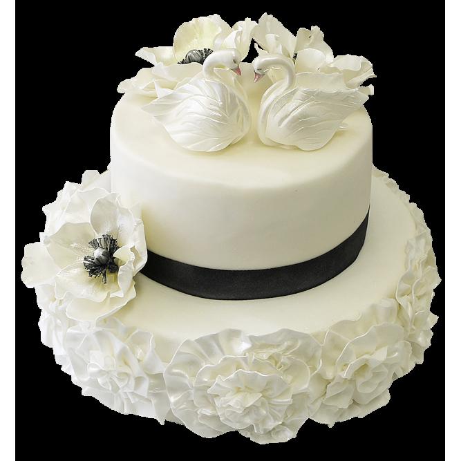 Торт свадебный Влюбленные лебеди №307