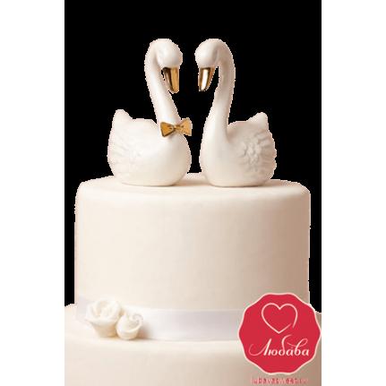 Торт с лебедями и розами №719