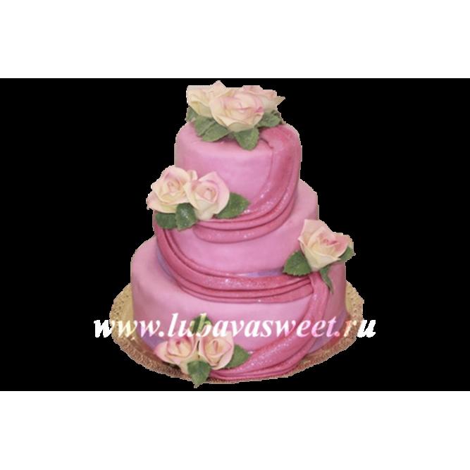 Торт свадебный нежные розы №225