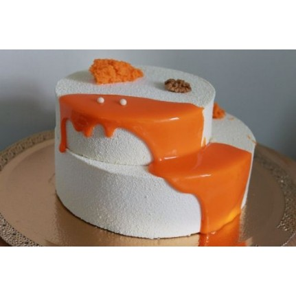 Торт Бархатный бело-оранжевый №1141