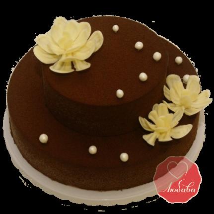Торт Бархатный Шоколадный с цветами №1133