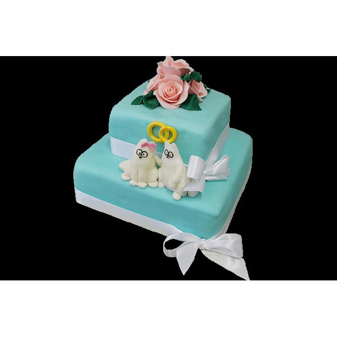 Торт свадебный Бирюзовый с розами №295