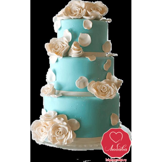 Торт свадебный Бирюзовый №794