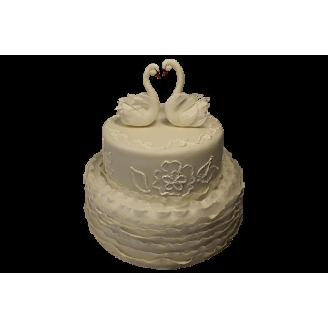 Торт С двумя белыми лебедями №517