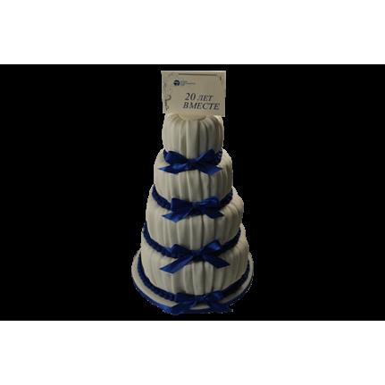 Торт свадебный с синими бантами №488