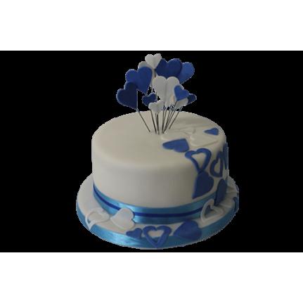 Торт свадебный с синими и белыми сердечками №489