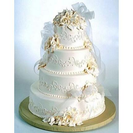 Торт свадебный Белый с бантом №677