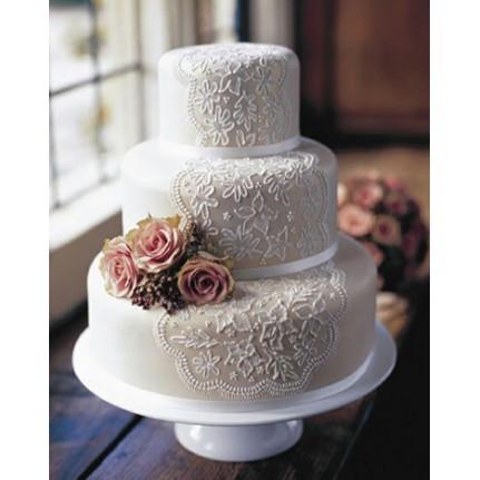 Торт свадебный Белый трехъярусный №717