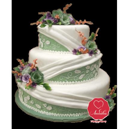 Торт свадебный зеленый №718