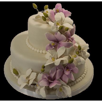 Торт свадебный с каскадом лилий №485
