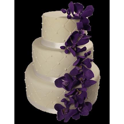 Торт свадебный с каскадом сиреневых цветов №486