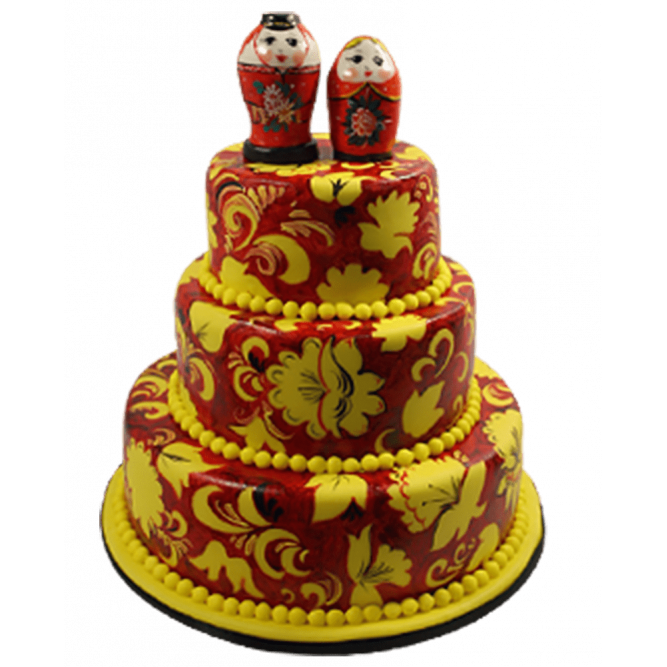 Торт Свадебная хохлома №558