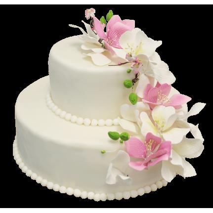 Торт свадебный с лилиями №135