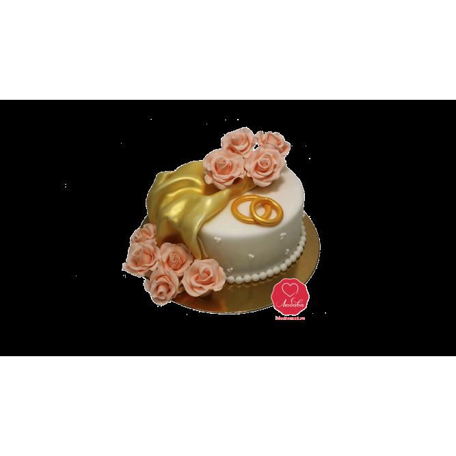 Торт свадебный с обручальными кольцами №994