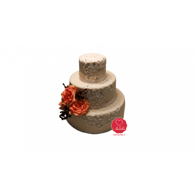 Торт свадебный с розами №991