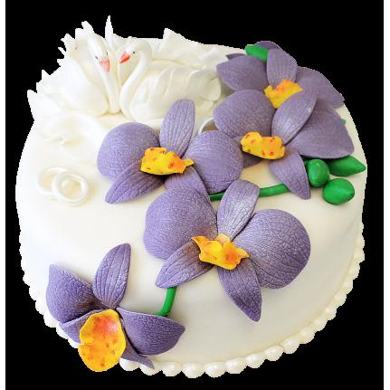Торт свадебный с лебедями №132