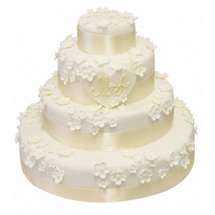 Торт свадебный с белыми цветами №170