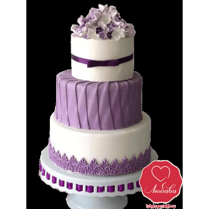 Торт свадебный бело-сиреневый №732