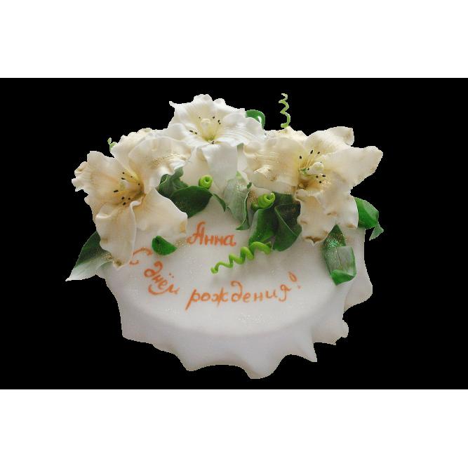 Торт свадебный Белые лилии №289