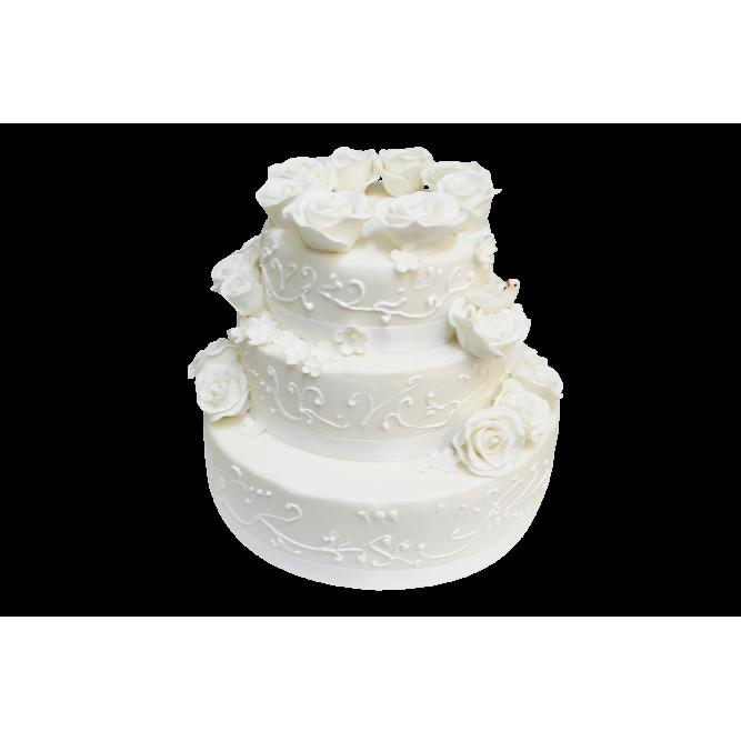 Торт свадебный Белые розы №290
