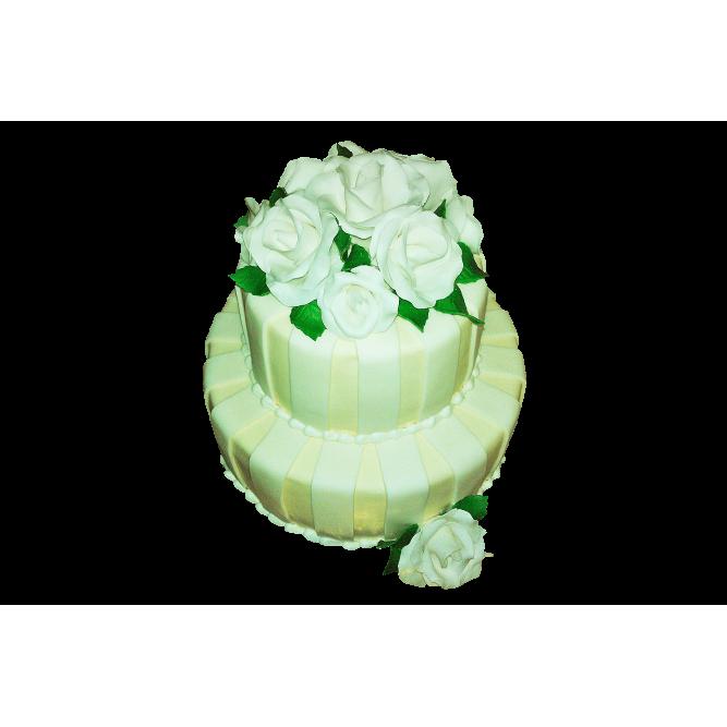 Торт свадебный с белыми розами №402