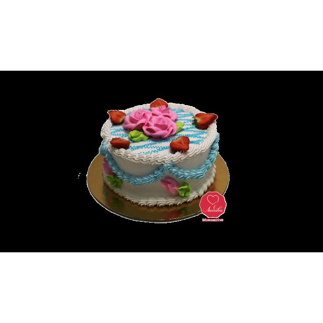 Торт Белый с клубникой №931