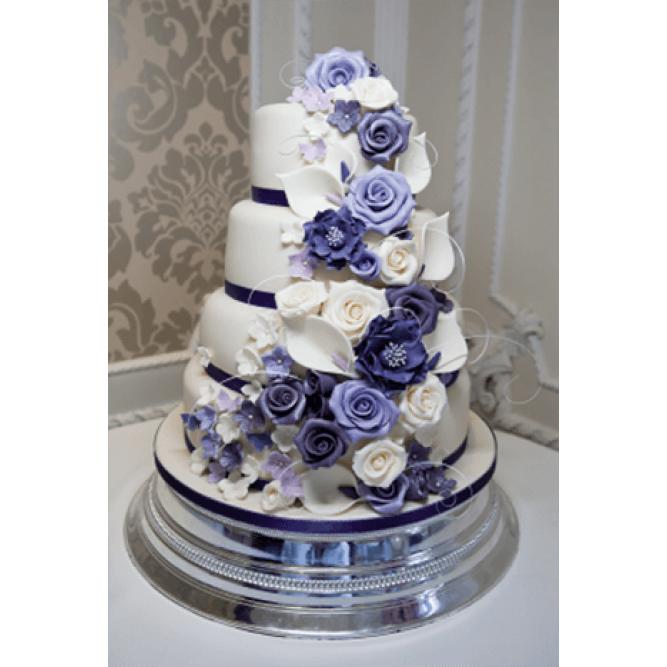 Торт свадебный белый с фиолетовым №742