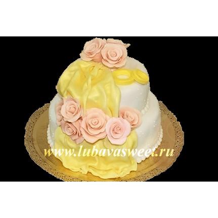Торт свадебный с цветами №125