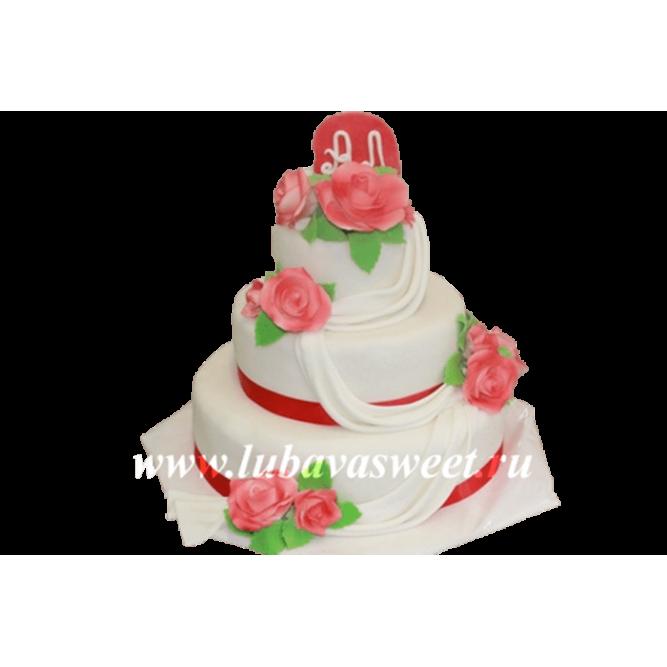 Торт свадебный с красными розами №220