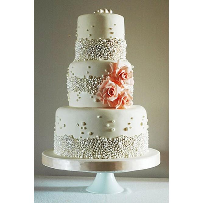 Торт свадебный Белый с бусинами и розами №722