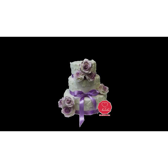 Торт свадебный с цветами и бантиком №1104