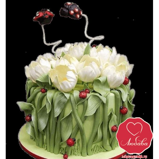 Торт с тюльпанами №793