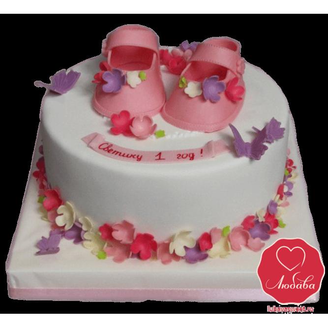 Торт с пинетками для девочки №818