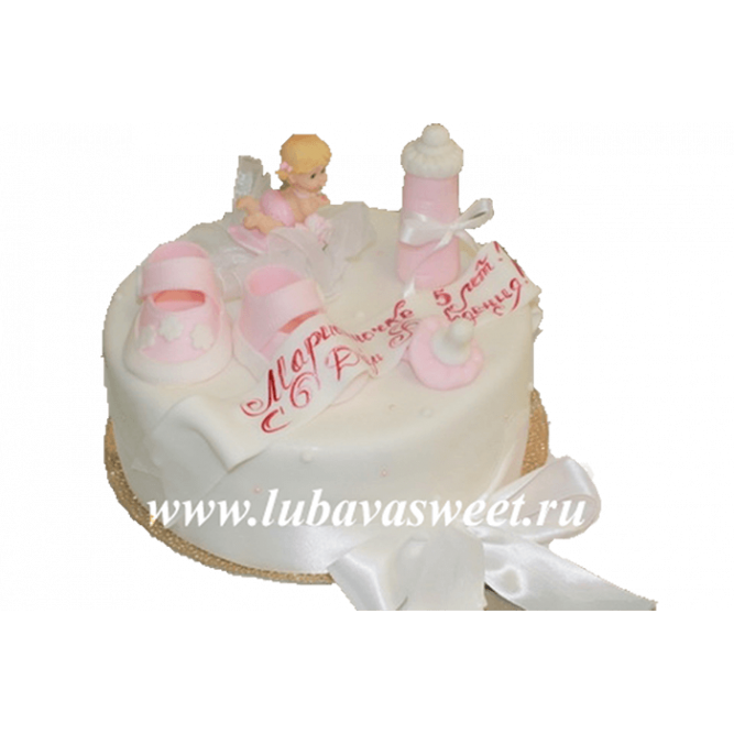Торт на 1 годик девочке розовый №191