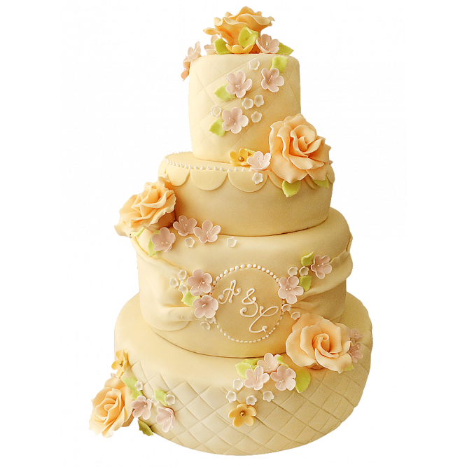 Торт свадебный желтые розы №223