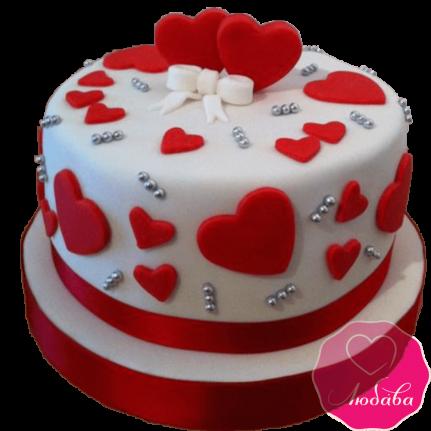 Торт праздничный сердца №2155