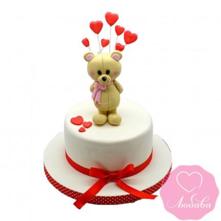 Торт праздничный с мишкой №2427
