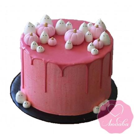 Торт праздничный с приведениями и тыквами №2547