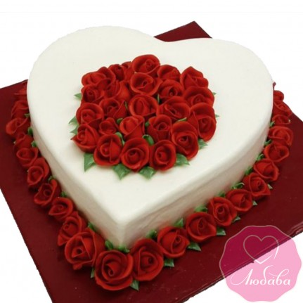 Торт праздничный сердце и розы №2635