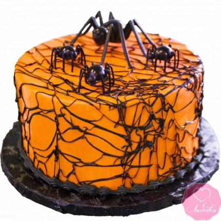 Торт праздничный на хэллоуин с пауками №2706