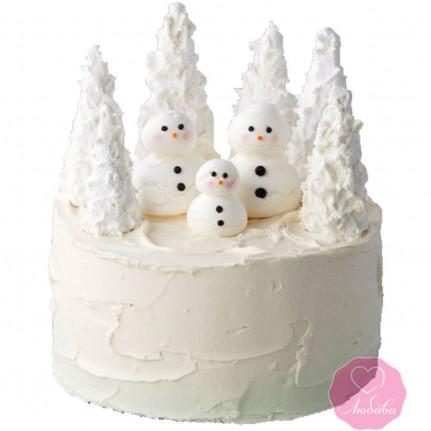 Торт праздничный снеговики и елки №2735
