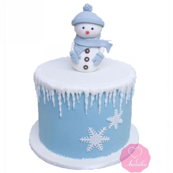 Торт праздничный со снеговиком №2736