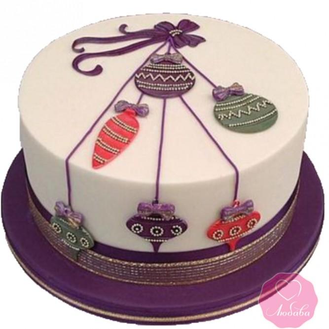 Торт праздничный с елочными шарами №2740