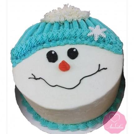 Торт праздничный без мастики снеговик №2759