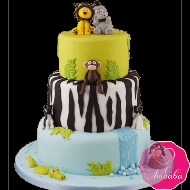 Торт детский со зверями №2164