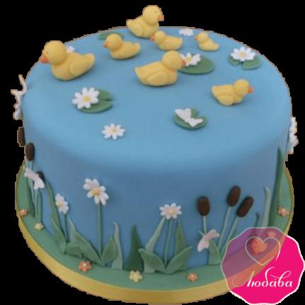 Торт детский с утятами №2186