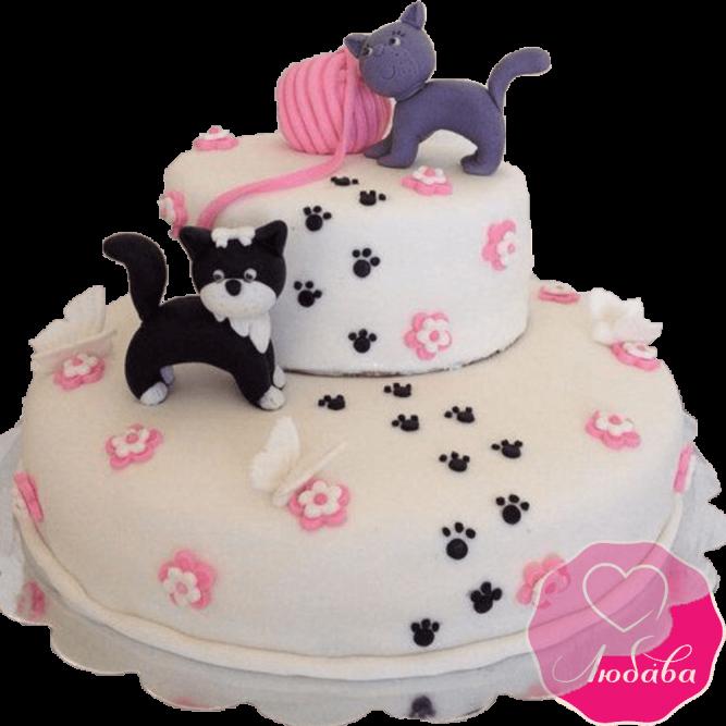 Торт детский с котами №2188