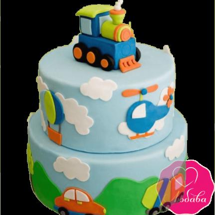 Торт детский с паровозом №2250