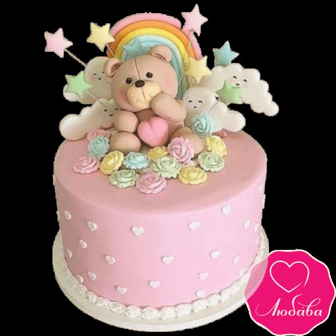 Торт детский мишка на радуге №2271